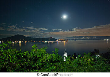 lago Maggiore by Night - Maggiore Lake under the moon light,...
