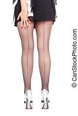 Sexy stylish legs in black sheer stockings