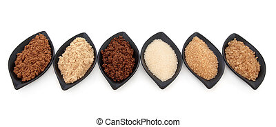Sugar Varieties - Selection of muscovado, light brown,...