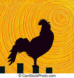 Rooster sketch background - Conceptual graphic rooster,...