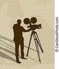 Camera man - Silhouette of a man filming and shadow,...