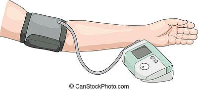 Measurement of blood pressure. Vector illustration.