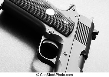 Part of .45 caliber pistol. - Weapon legends. Black and...