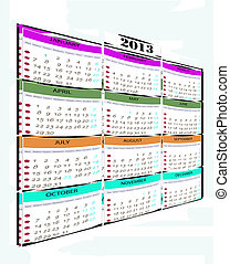Calendar year 2013, which shows every month