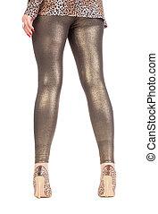 dorado,  Shimmering,  leggins, elegante,  Sexy, piernas