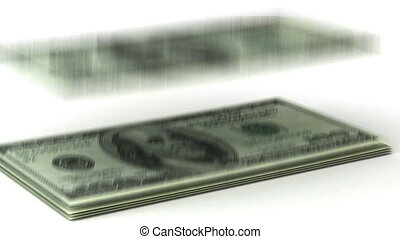 Counting Dollars on white background