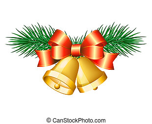 Christmas golden bells with red bows. Vector illustration