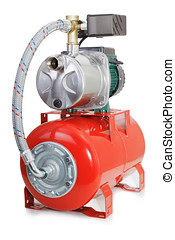 Automatic water pump with a red tank