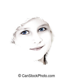 High key girl portrait - High key portrait of a beautiful...
