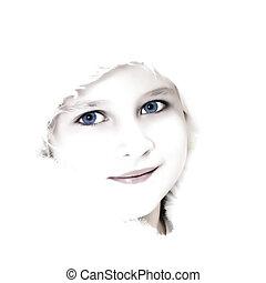 High key girl portrait - High key portrait of a beautiful...