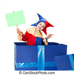 Clown with blank card - Lovely little clown girl in a blue...