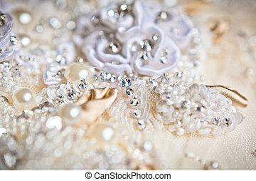 wedding dress close up - beautiful wedding dress close up