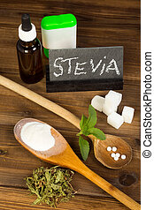 Sugar and sweetener stevia - Healthy sweetener stevia in...