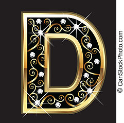 D gold letter with swirly ornaments