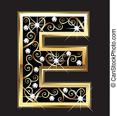 E gold letter with swirly ornaments