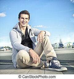 pretty young man outdoor - pretty young fashion man outdoor,...