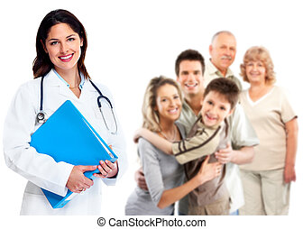 Family Doctor woman. Health care. - Smiling medical family...