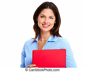 Business woman with red folder - Portrait of happy young...