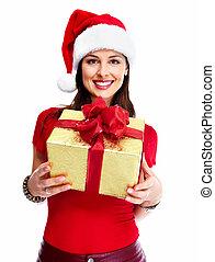 Christmas santa woman with gift.