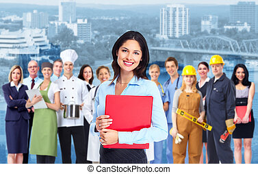 Business woman and group of workers people - Business woman...