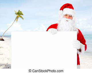 Santa claus with banner - Santa claus with banner on the...