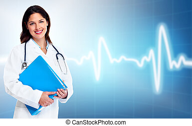 Doctor woman. Health care. - Smiling medical doctor woman....