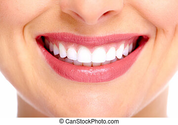 Beautiful woman smile. - Beautiful young woman smile. Dental...