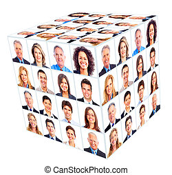 Business person group. Cube collage. Isolated on white...