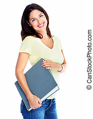 Student girl with book - Young pretty student girl with book...