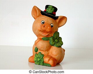 Piggy with shamrocks - A cute little piggy with his...