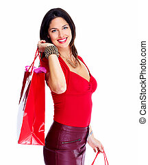 Shopping woman. - Beautiful shopping woman. Isolated on...