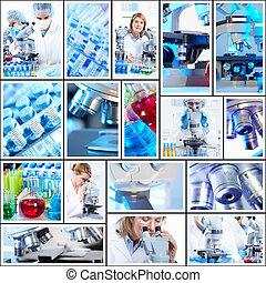collage, vetenskaplig, bakgrund