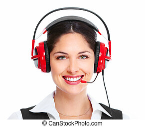 Beautiful business woman with headset. Over white background...