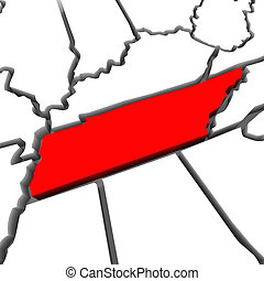 Tennessee Red Abstract 3D State Map United States America -...
