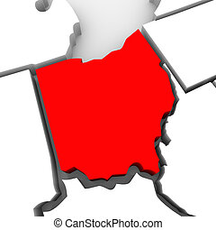 Ohio Red Abstract 3D State Map United States America - A red...