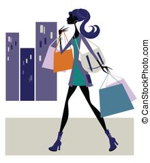 Chic Woman Shopping - Stylish woman carrying shopping bags...