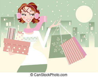 Pretty Woman Christmas Shopping - Happy smiling woman...