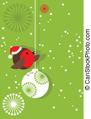 Christmas Robin on Bauble - Cool little robin redbreast in...