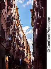 Narrow Street Gothic Quater Barceolona, Spain - Narrow...