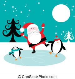 Santa and Penguins on Ice - Happy penguins and santa skating...