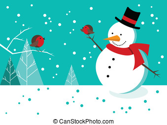 Snowman and Robins - Happy scene with snowman and robins in...