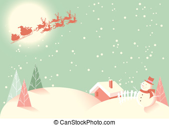 Christmas Scene in Retro Style - Soft vintage coloured...