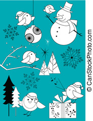 Winter Robins Black and White Set - Cute set of Christmas...