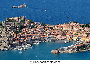 Isola d'Elba-Portoferraio - aerial view of Portoferraio with...