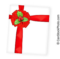 Merry Christmas greeting card wrapped with red ribbon, big...