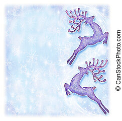 Christmas holiday card, festive background, reindeer decorative border, traditional tree ornament, abstract shiny glowing lights, winter holidays celebration