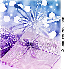 Purple blue Christmas gift with baubles decorations - Purple...