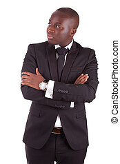 Young african business man with folded arms