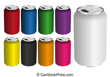 Drink Cans - Vector Illustration of Drink Cans in Various...