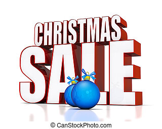 Christmas Sale text on a shiny white background